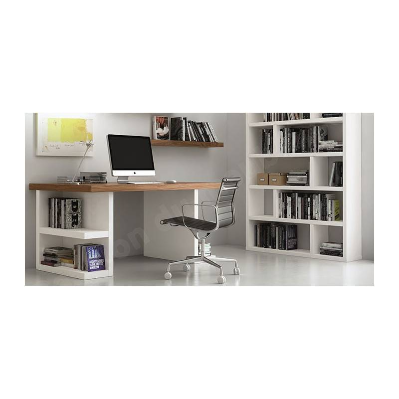 TEMAHOME Bureau design avec ?tag?res de rangement, Noyer et blanc, Gamme MULTI