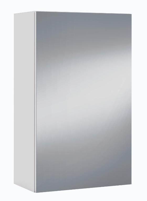CAESAROO Meuble à miroir 40x21x65 cm Blanc brillant avec une porte   Blanc
