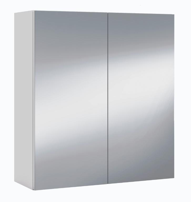 CAESAROO Meuble à miroir 60x21x65 cm Blanc brillant avec une porte   Blanc