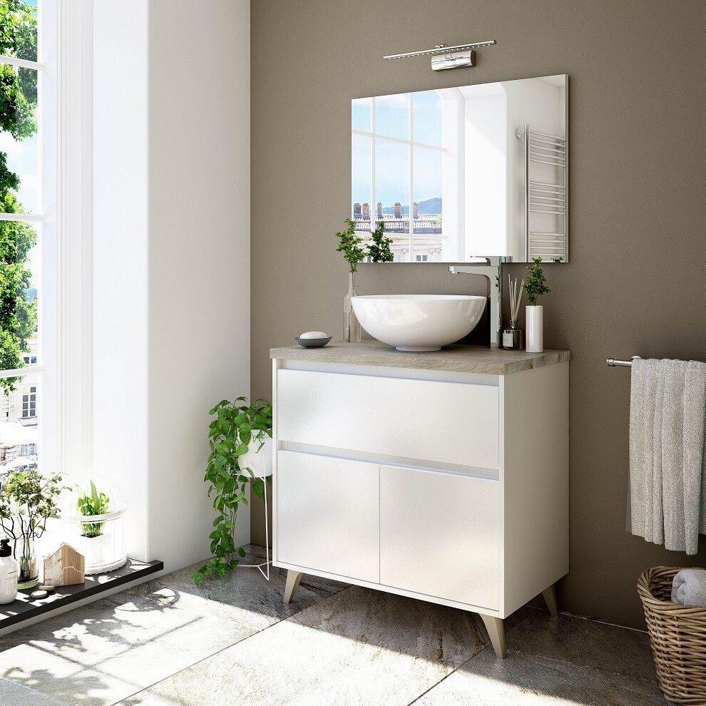 CAESAROO Meuble de salle de bain sur pied 80 cm blanc brillant et chêne avec Lavabo ronde à poser   Blanc brillant - 80 cm - Avec miroir et lampe LED