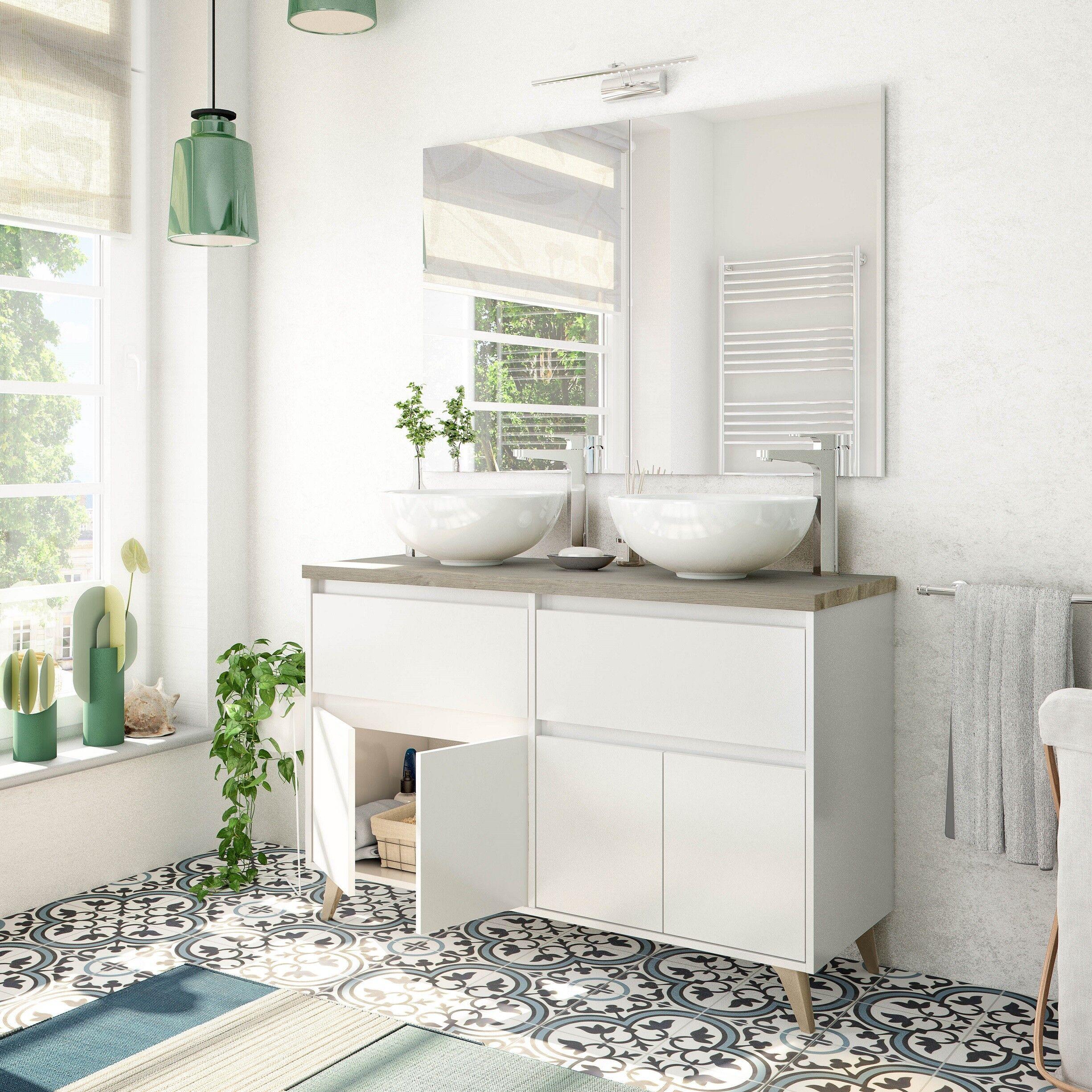 CAESAROO Meuble de salle de bain sur pied 120 cm blanc brillant et chêne avec double Lavabo ronde à poser   Blanc brillant - 120 cm - Avec double miroir et lampe LED