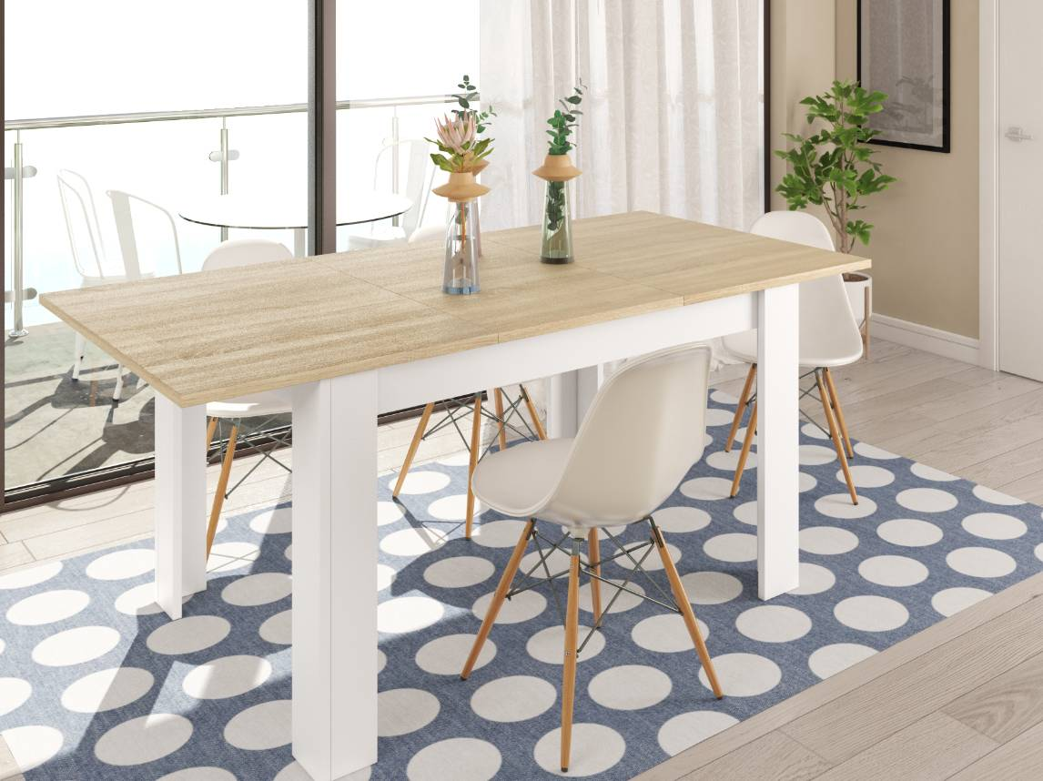 CAESAROO Table extensible 140x90 cm chêne clair et blanc mat   Chêne clair/blanc