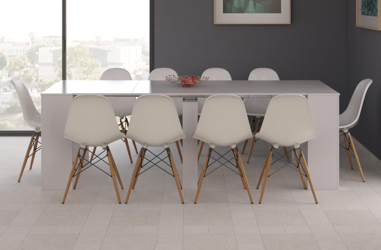 CAESAROO Table multifonctions extensible de 51 à 237 cm Blanc brillant   Blanc