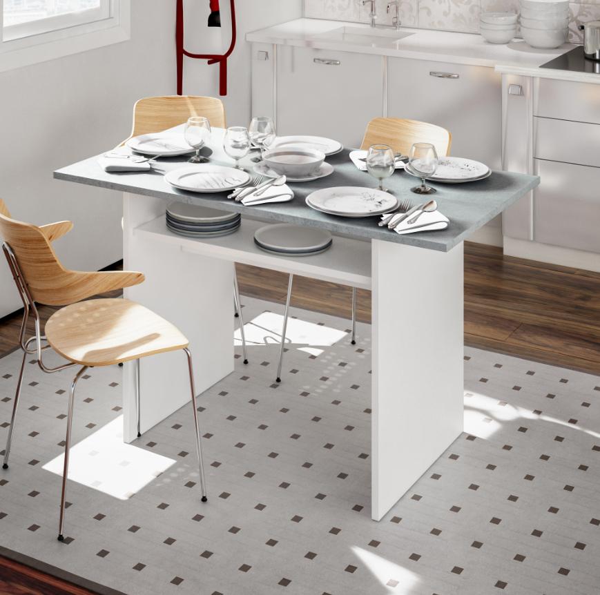 CAESAROO Table 120x70 cm repliable à livre Blanc mat et ciment   Ciment / blanc