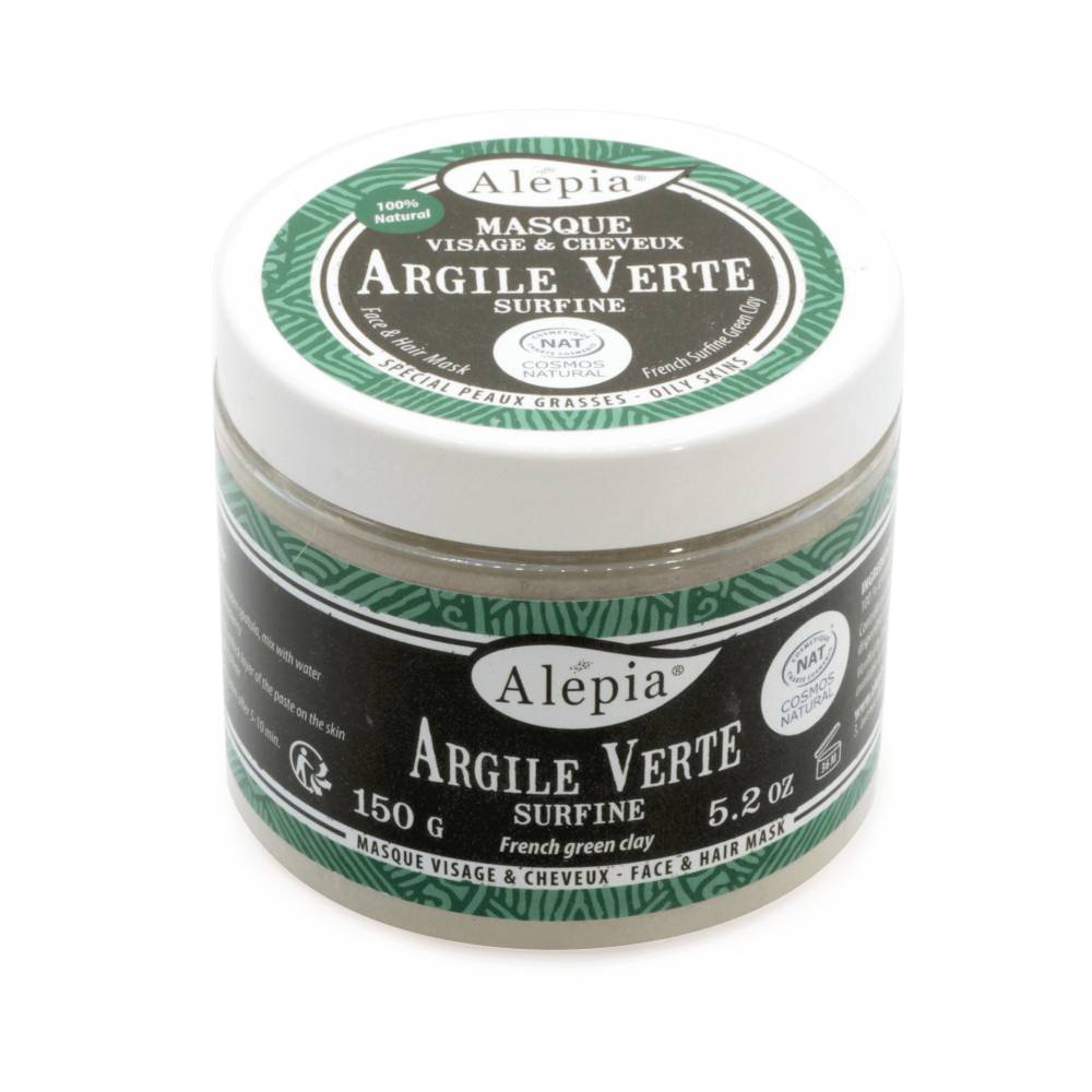 Alépia Argile verte en poudre – Pot 150Gr - Masque Visage et Cheveux - Alépia