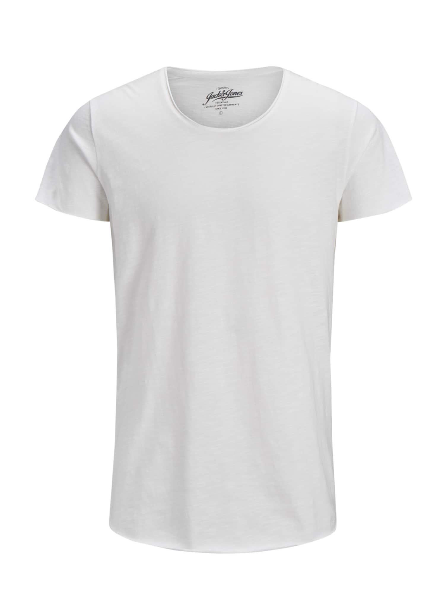 JACK & JONES T-Shirt 'JJEBAS TEE SS U-NECK NOOS'  - Blanc - Taille: L - male