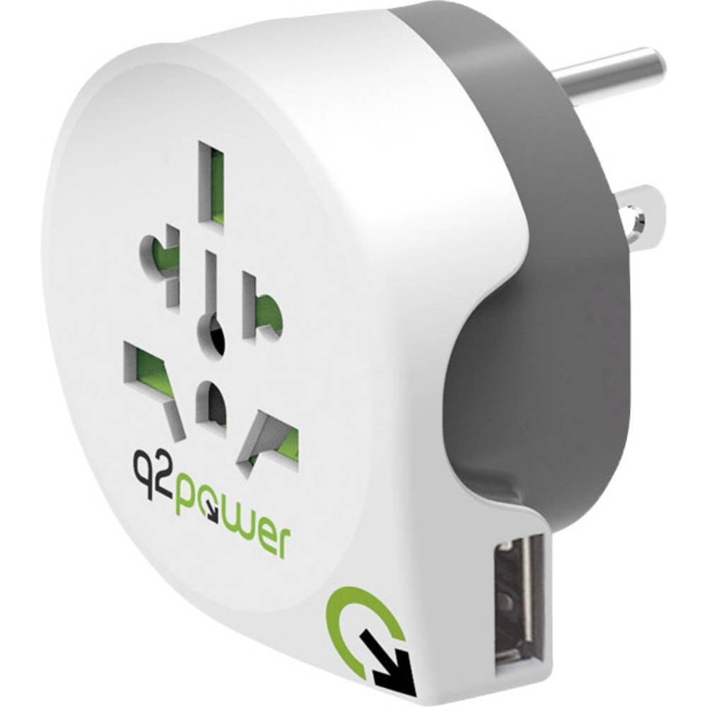 Q2 Power Adaptateur de voyage Q2 Power Welt nach USA mit USB 1.100150 Welt nach USA mit USB 1 pc(s)