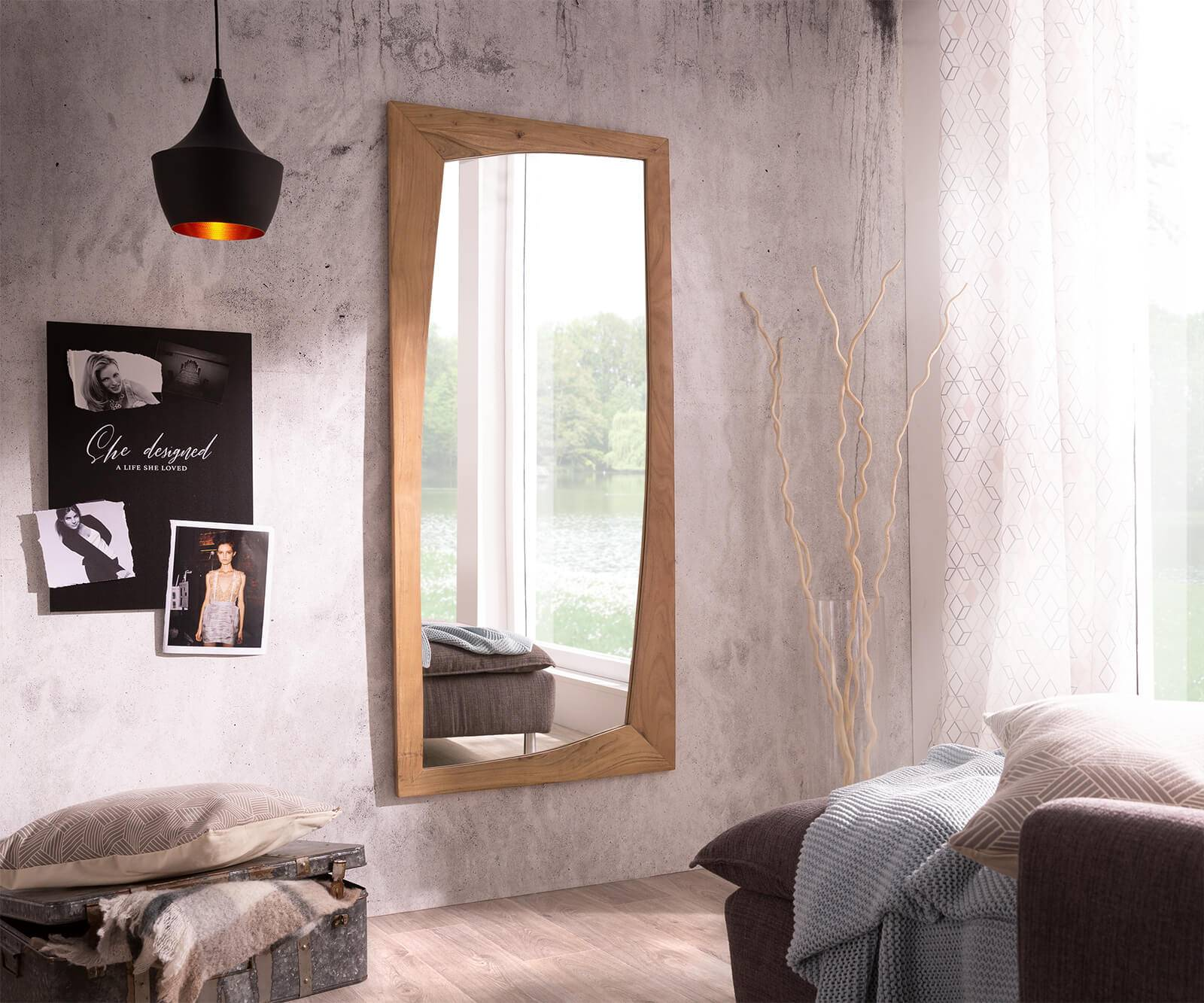 DELIFE Miroir-mural Wyatt 160x70 cm acacia nature