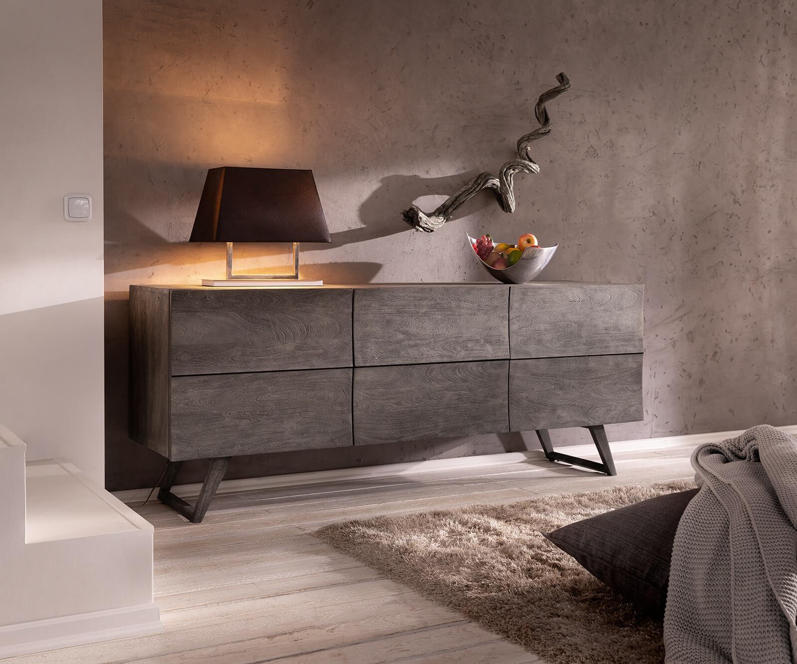 DELIFE Design-buffet design Wyatt 177 cm acacia platine 2 portes