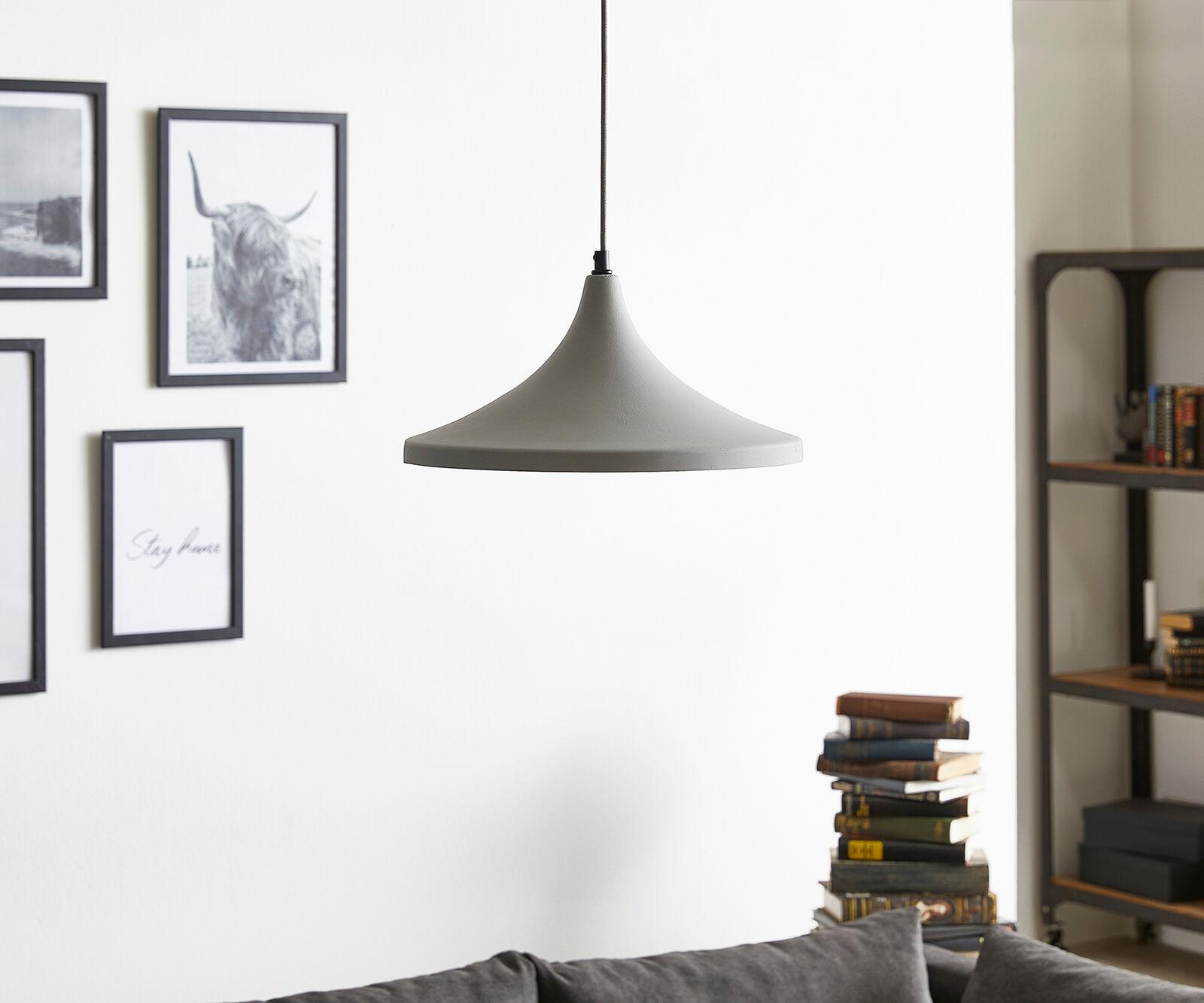 DELIFE Lampe-à-suspension Disku D35xH17 cm Pendentif Lumineux en béton