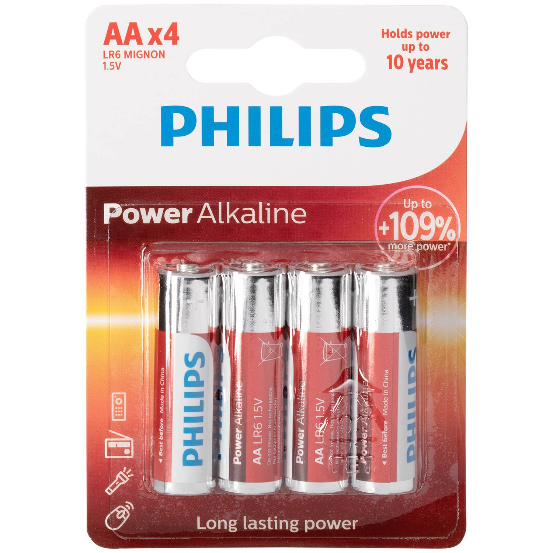 Mixed Philips Lot de 4 piles alcalines AA LR06