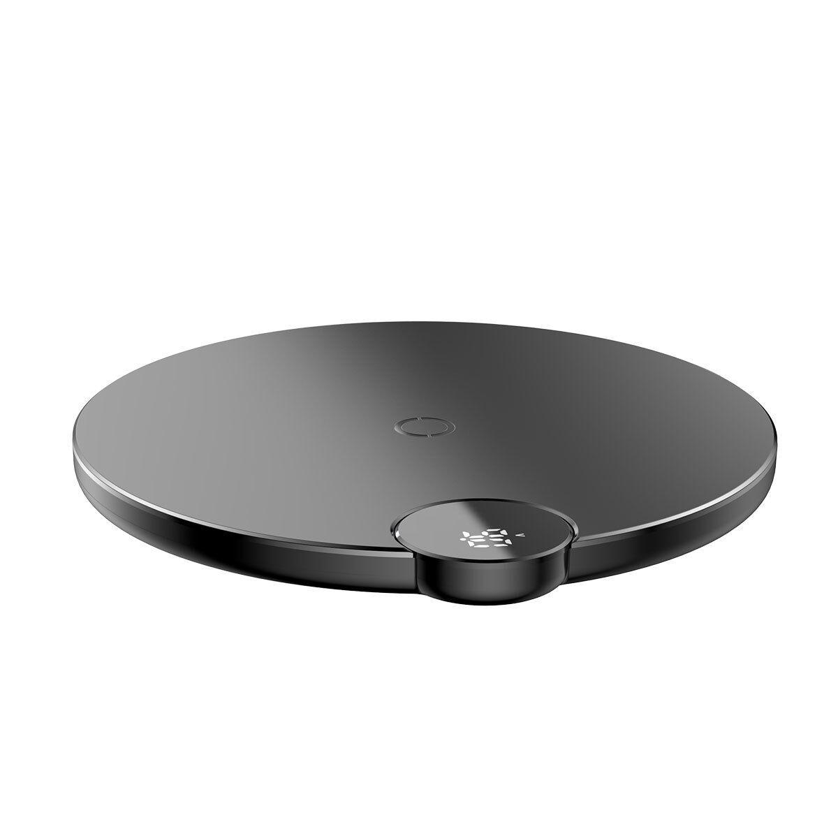 Baseus Chargeur sans fil Baseus avec écran LED numérique, noir