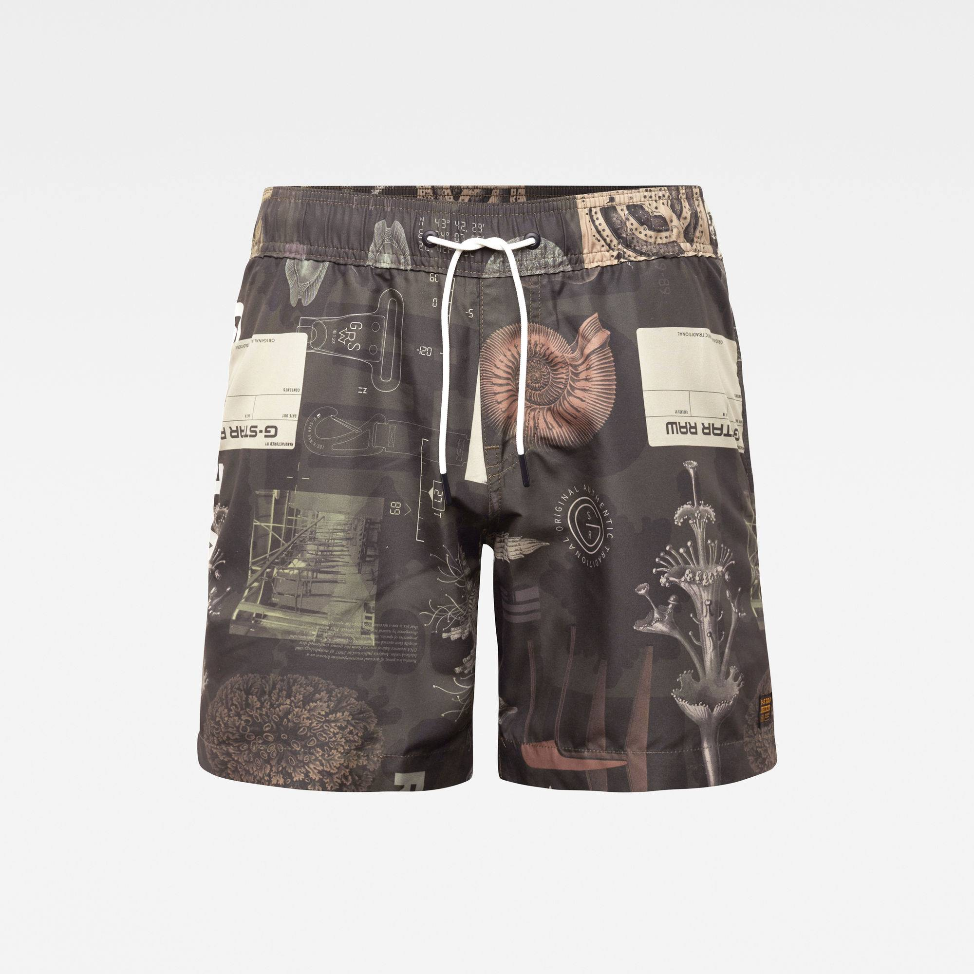 G-star RAW Hommes Short de bain Dirik Zip All Over Printed Multi couleur  - Taille: L XL S M XS