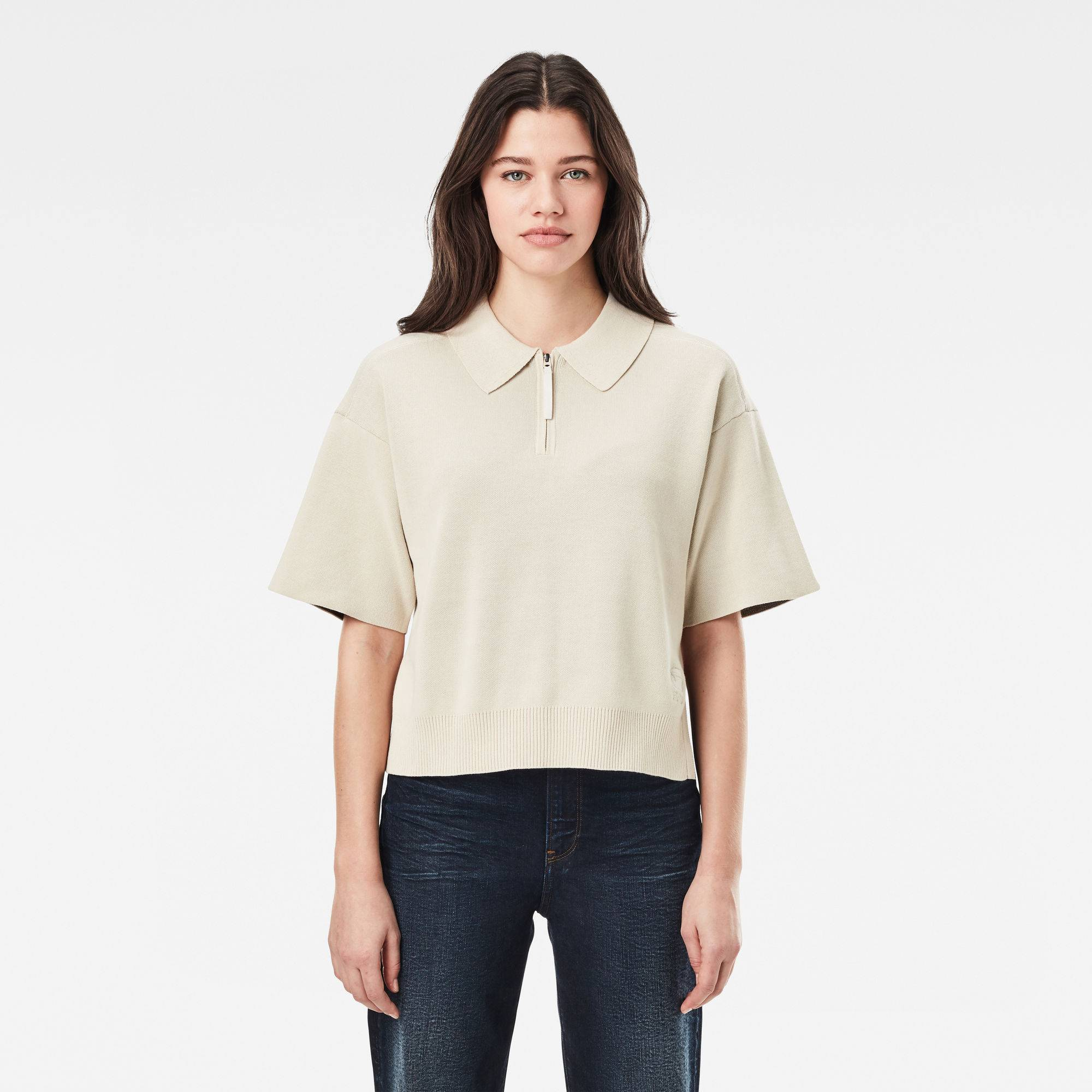 G-star RAW Femmes Polo Knitted Zip Beige  - Taille: XS XL S M L