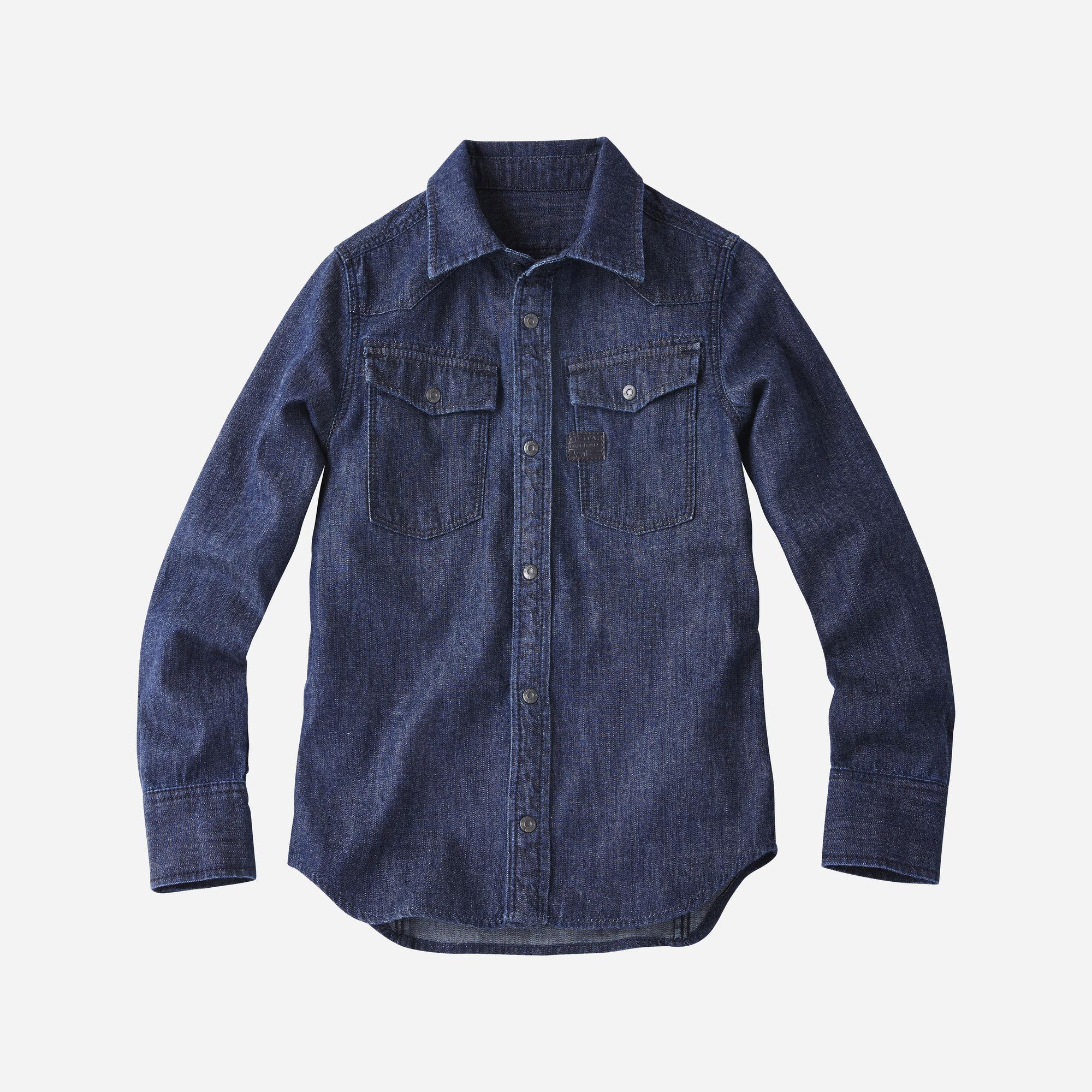 G-star RAW Garçons 3301 Shirt Bleu foncé  - Taille: 152