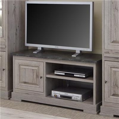 Happymobili Meuble tv moderne couleur bois et ardoise CALI