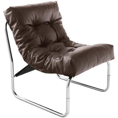Happymobili Fauteuil de relaxation marron design PU et chrome CELLUS4