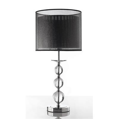 Happymobili Lampe à poser abat-jour noir et acier chromé HILDA