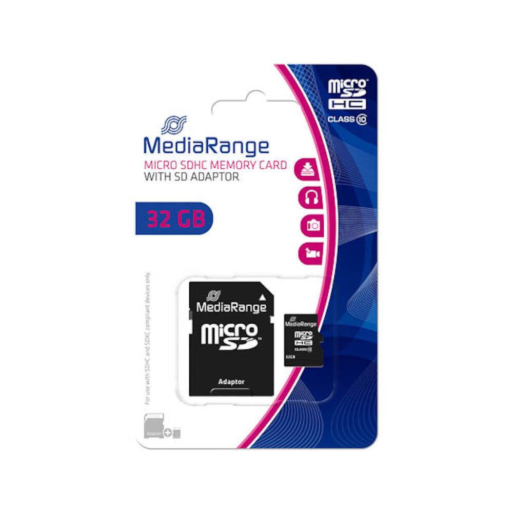 MediaRange Carte Mémoire SD 32Go MediaRange avec adaptateur SD-SDHC - MR959