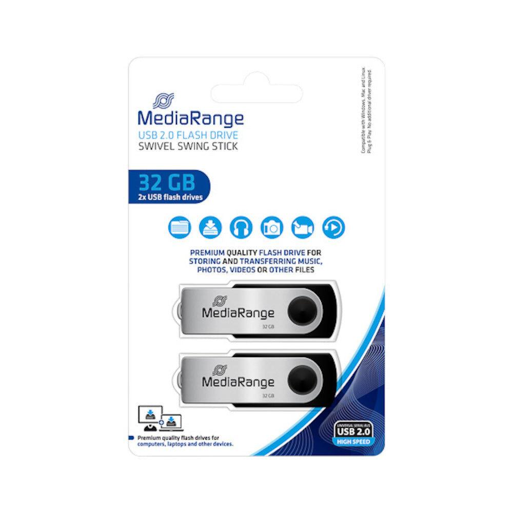 MediaRange Lot de 2 Clés USB 32Go MediaRange Flexi Flash Drive 15MB/S USB 2.0 - MR911-2
