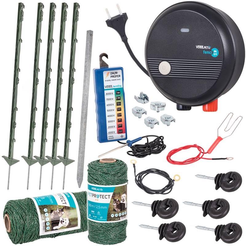 Kit complet de clôture électrique 230 V pour chiens et chats VOSS.farming, vert, avec électrificateur VOSS.PET fenci M09
