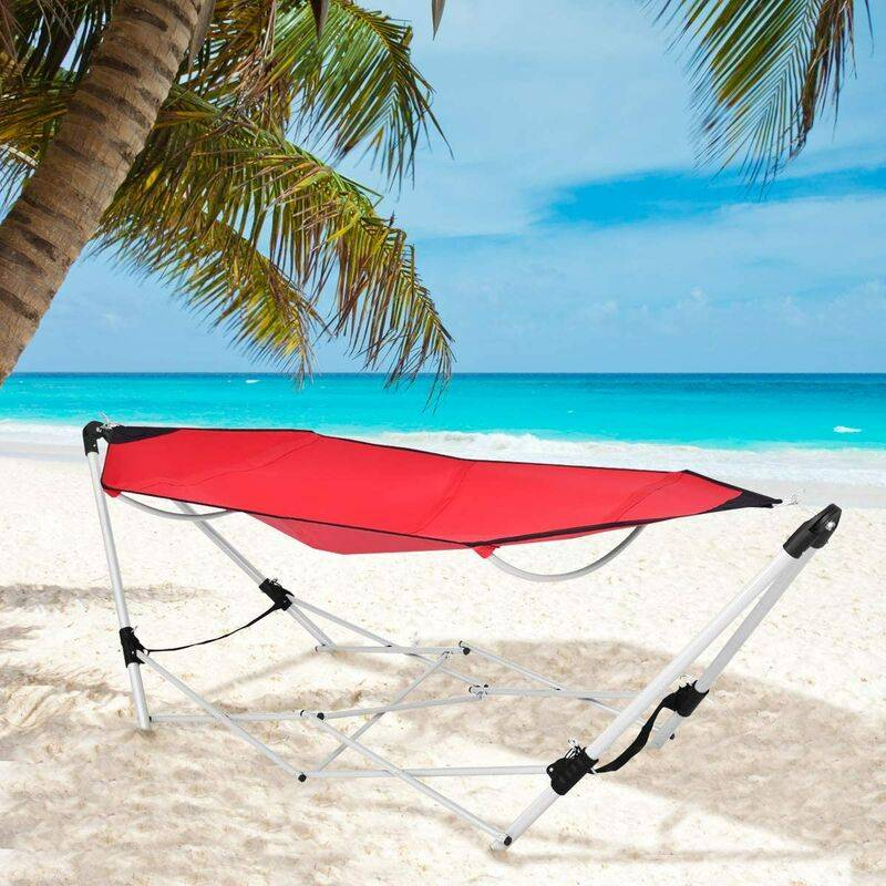 COSTWAY Hamac avec Support Pliable Cadre Autoportant en Acier Sac de Transport pour Jardin Plage Randonnée Camping