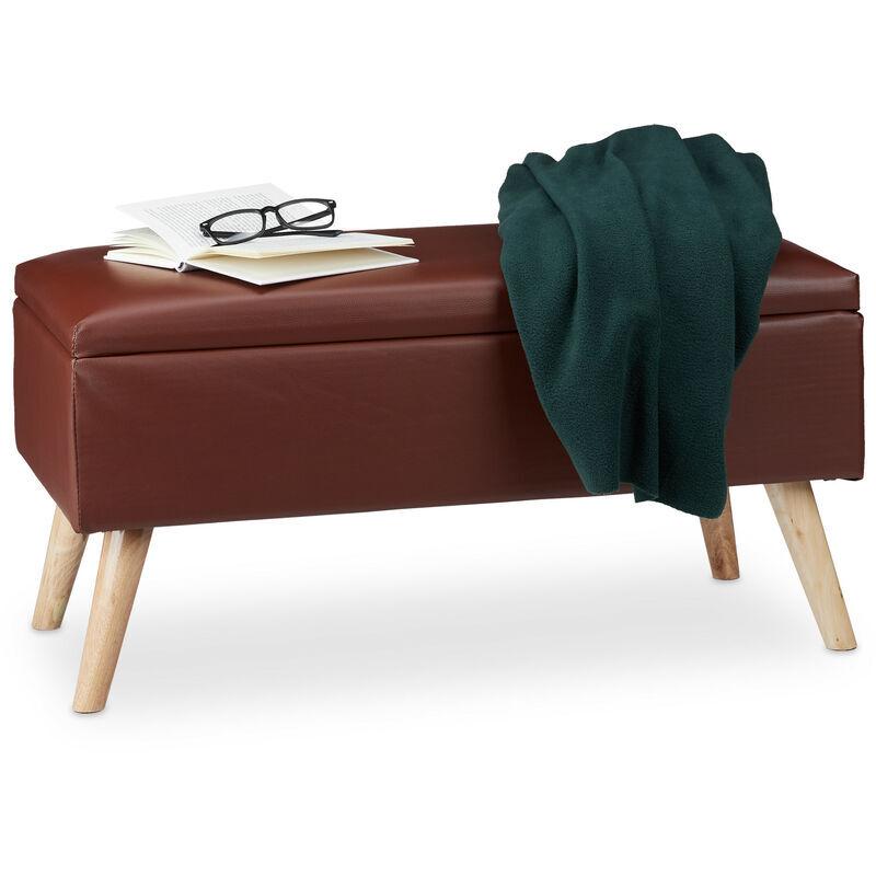 RELAXDAYS Banc de rangement banquette similicuir coffre 40 litres 4 pieds ottoman pouf tabouret HxlxP: 40 x 80 x 39,5 cm, couleurs