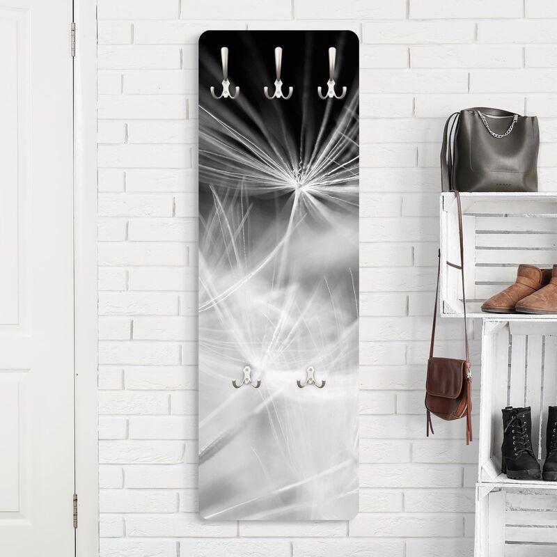 Bilderwelten Garde robe - Moving dandelions close up on black background - Slender 139x46x2cm Dimension: 139cm x 46cm