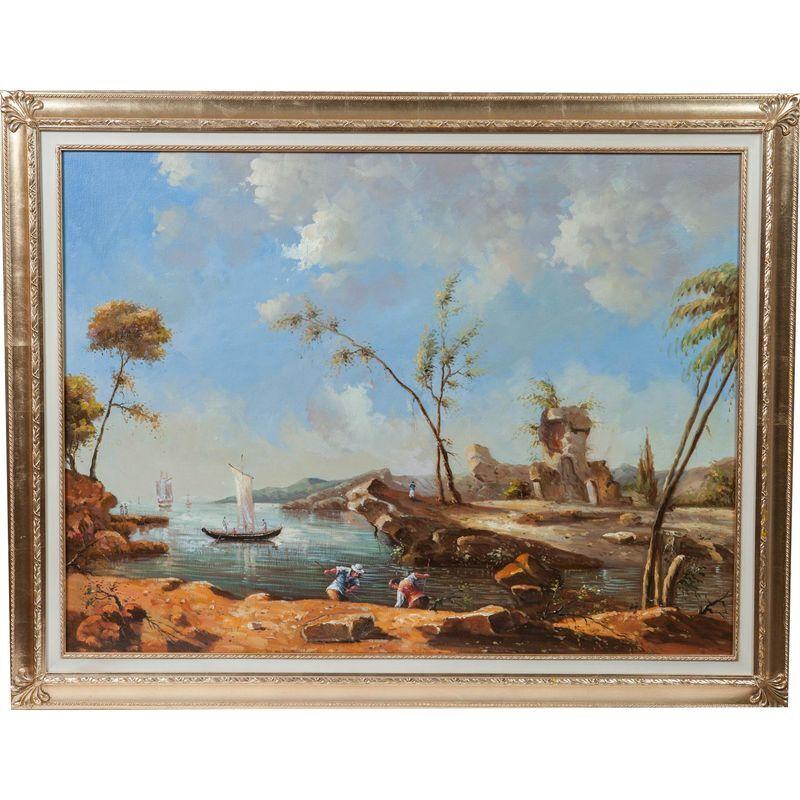 Biscottini - Huile sur toile peinte à la main sur toile avec cadre en bois 140x3x110 cm finition feuille d'or cadre en bois