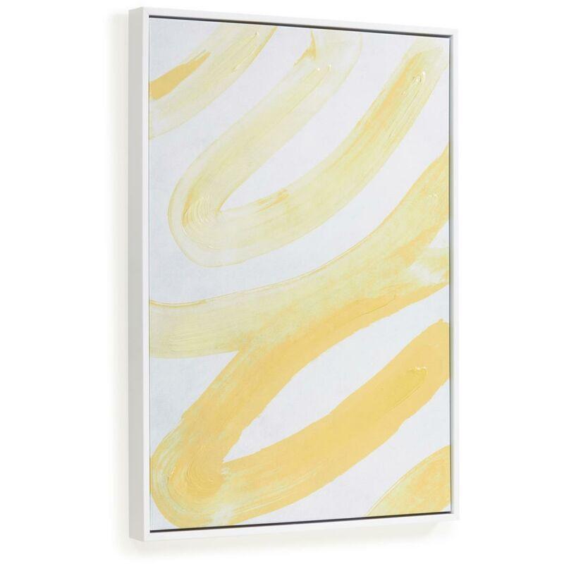 Kave Home - Tableau Lien lignes blanches et jaunes 50 x 70 cm