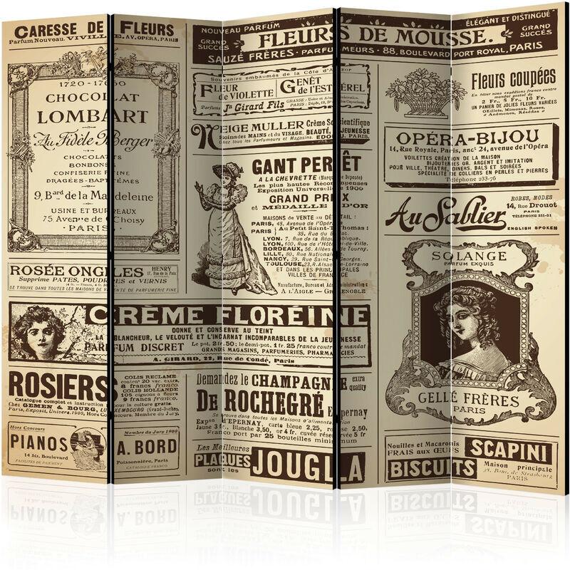 Artgeist - Paravent 5 volets Vintage Magazines II - Taille 225 x 172 cm