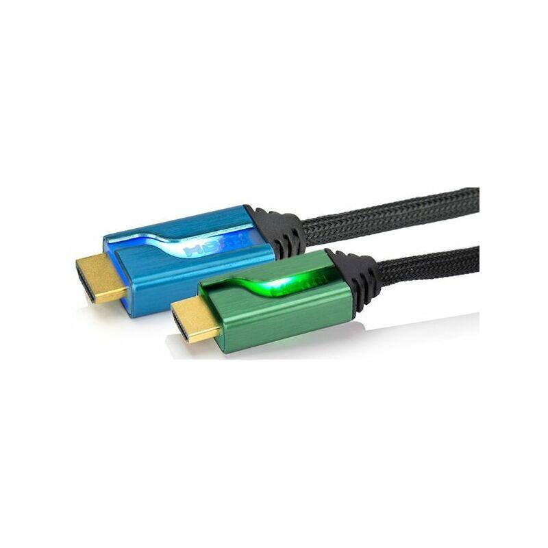 AFTERGLOW câble double hdmi high speed with ethernet 1m80 rétro éclairé bleu/vert - pl-9019eu-bg - afterglow