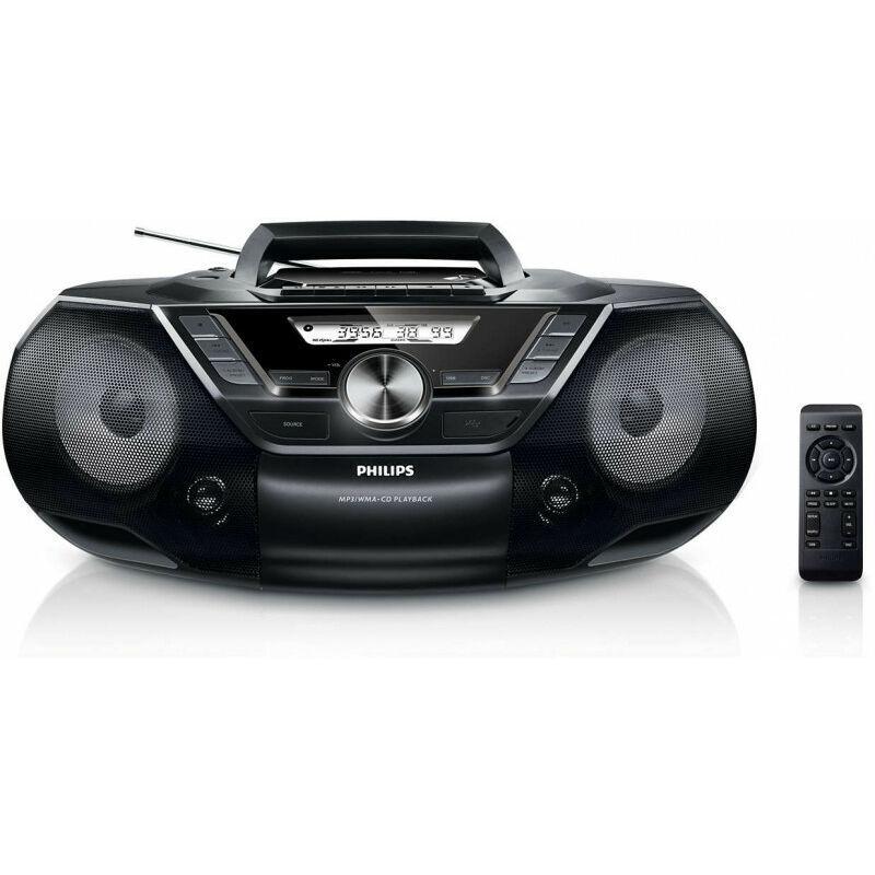 Philips Lecteur de CD AZ787/12 - Dynamic Bass Boost 2 steps - 12 W - FM - Lecteur CD portable - Noir - Mécanique (AZ787/12) - Philips