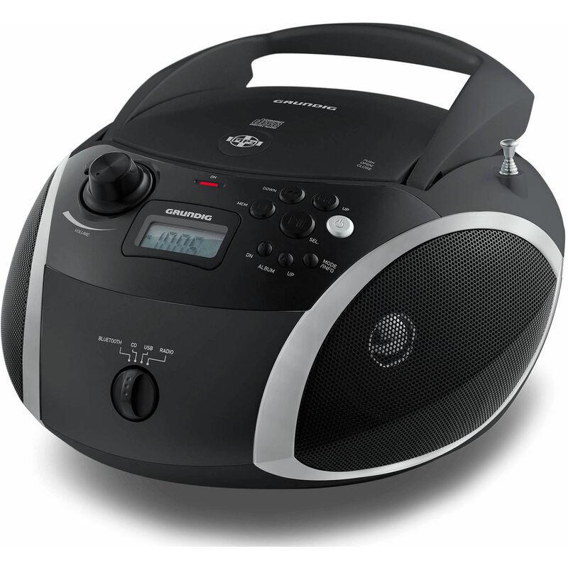 Grundig rcd 1500 bt black radio fm rds cd 6w rms avec usb mp3 aux bt headphones batterie ou plug in. - Grundig