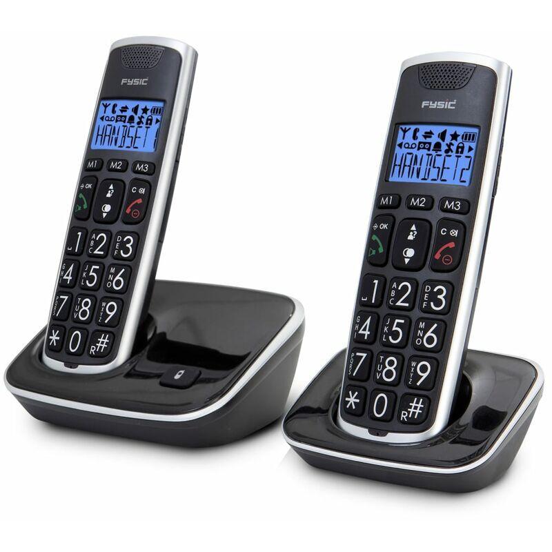 FYSIC Téléphone DECT FX-6020 double Noir et argenté - Fysic