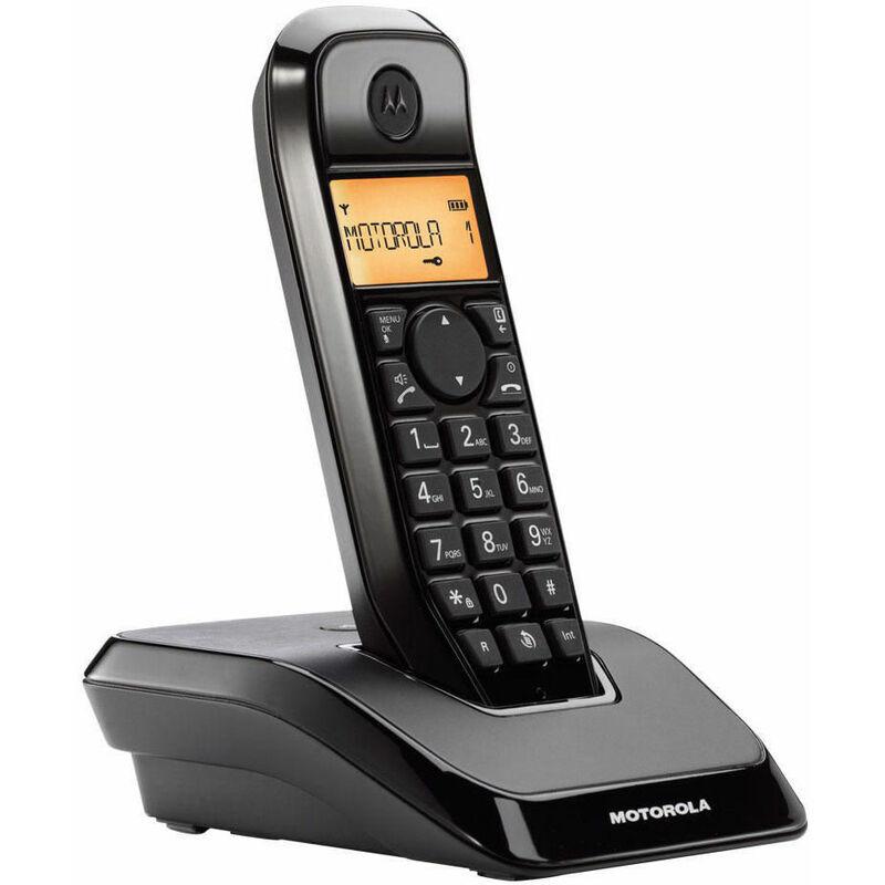 Motorola s1201 téléphone sans fil noir avec grand écran rétroéclairé et mains libres.