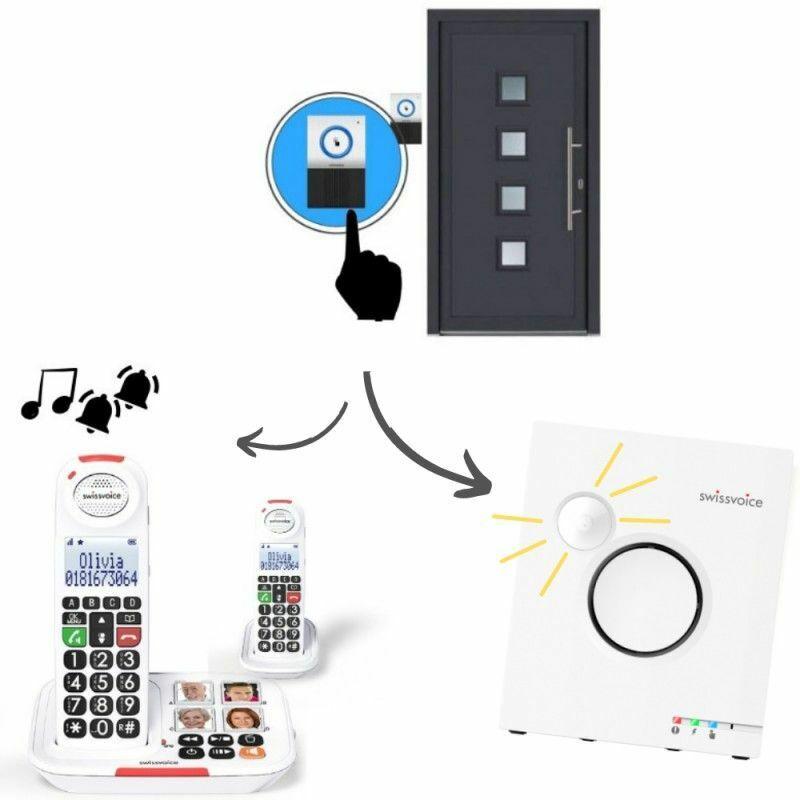 Swissvoice Pack Maison: Téléphone Sans fil DUO XTRA 2155 + Sonnette 8155 + Sonnerie Flash - Blanc