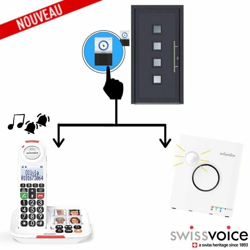 Swissvoice Pack Maison: Téléphone Sans fil XTRA2155 + Sonnette interphone DOORBELL8155 + Sonnerie Flash Ringer - Blanc