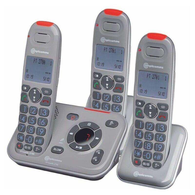 AMPLICOMMS Pack Téléphone Amplifié PowerTel 2780 TRIO Répondeur Gris - Amplicomms