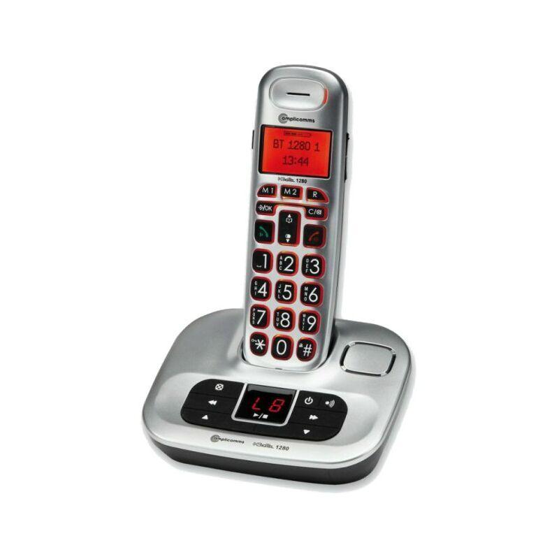 AMPLICOMMS Téléphone sans fil avec répondeur intégré, BigTel 1280 - Gris