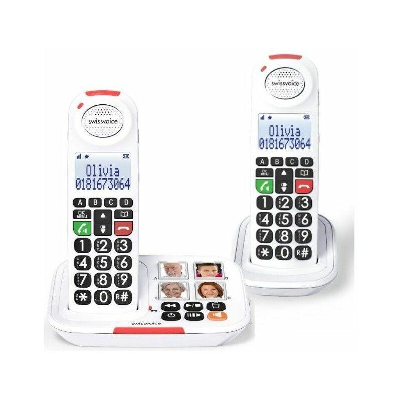 Swissvoice Téléphone sans fil Senior avec répondeur XTRA 2155 DUO - Blanc - Swissvoice