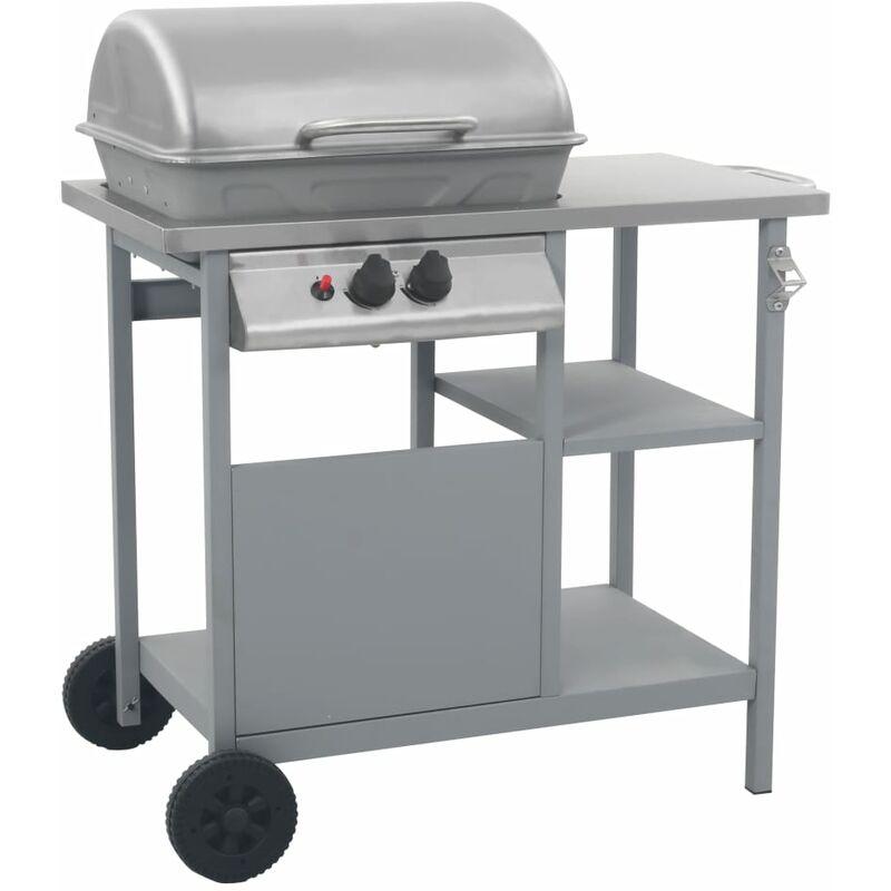 VIDAXL Barbecue à Gaz avec Table Latérale à 3 Niveaux Noir et Argenté Modèle 2