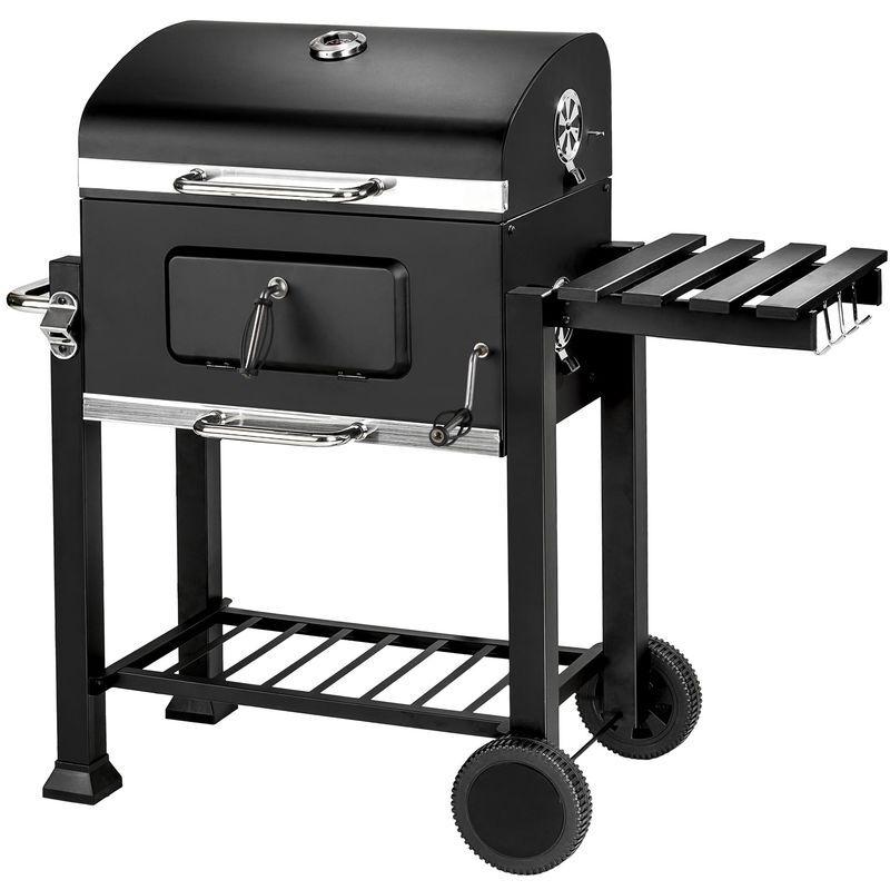 Tectake - Barbecue Charbon de Bois à 2 Roues 2 Grilles et 1 Thermomètre en Métal Noir