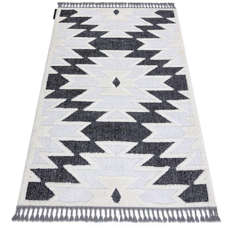 RUGSX Tapis MAROC H5157 Aztèque Ethnique blanc / noir Franges berbère marocain shaggy nuances de gris et argent 120x170 cm