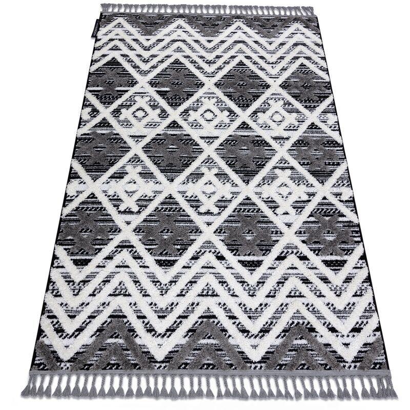 RUGSX Tapis MAROC P642 Diamants, Zigzag gris / blanc Franges berbère marocain shaggy nuances de gris et argent 140x190 cm
