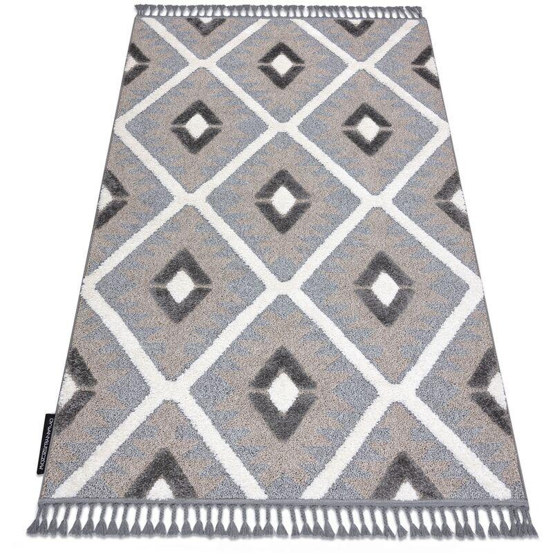 RUGSX Tapis MAROC P651 Diamants gris / blanc Franges berbère marocain shaggy nuances de gris et argent 80x150 cm