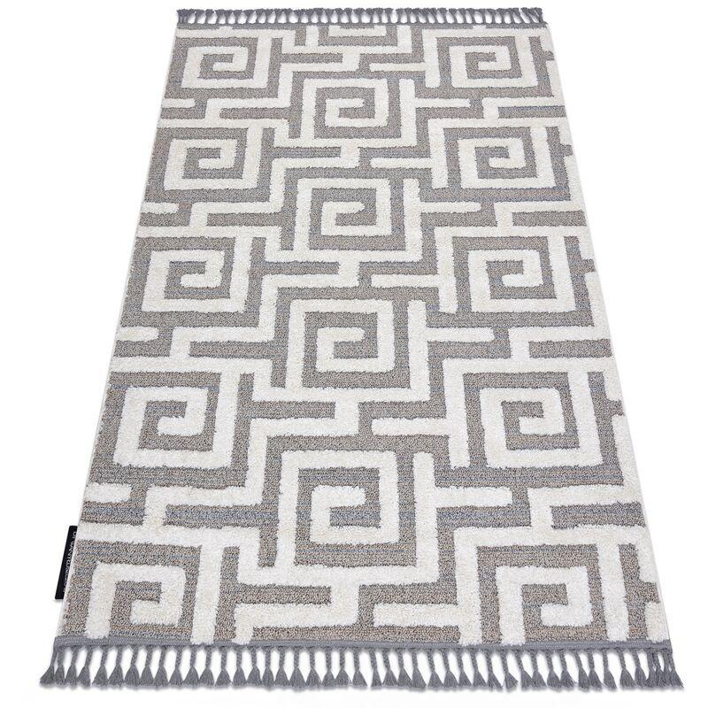 RUGSX Tapis MAROC P655 labyrinthe, grec gris / blanc Franges berbère marocain shaggy nuances de gris et argent 160x220 cm