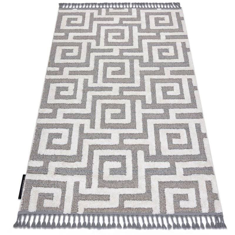 RUGSX Tapis MAROC P655 labyrinthe, grec gris / blanc Franges berbère marocain shaggy nuances de gris et argent 80x150 cm