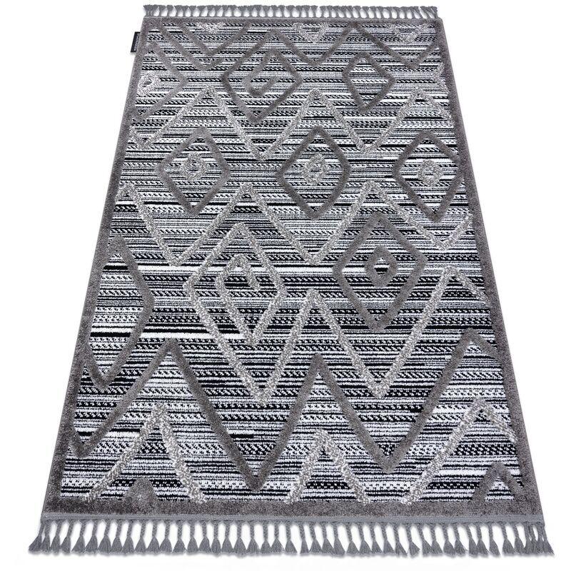 RUGSX Tapis MAROC P657 Diamants, Zigzag, Ethnique noir / gris Franges berbère marocain shaggy nuances de gris et argent 140x190 cm