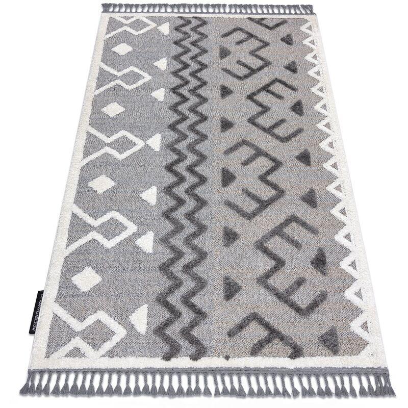 RUGSX Tapis MAROC P659 Aztèque Ethnique gris Franges berbère marocain shaggy nuances de gris et argent 80x150 cm